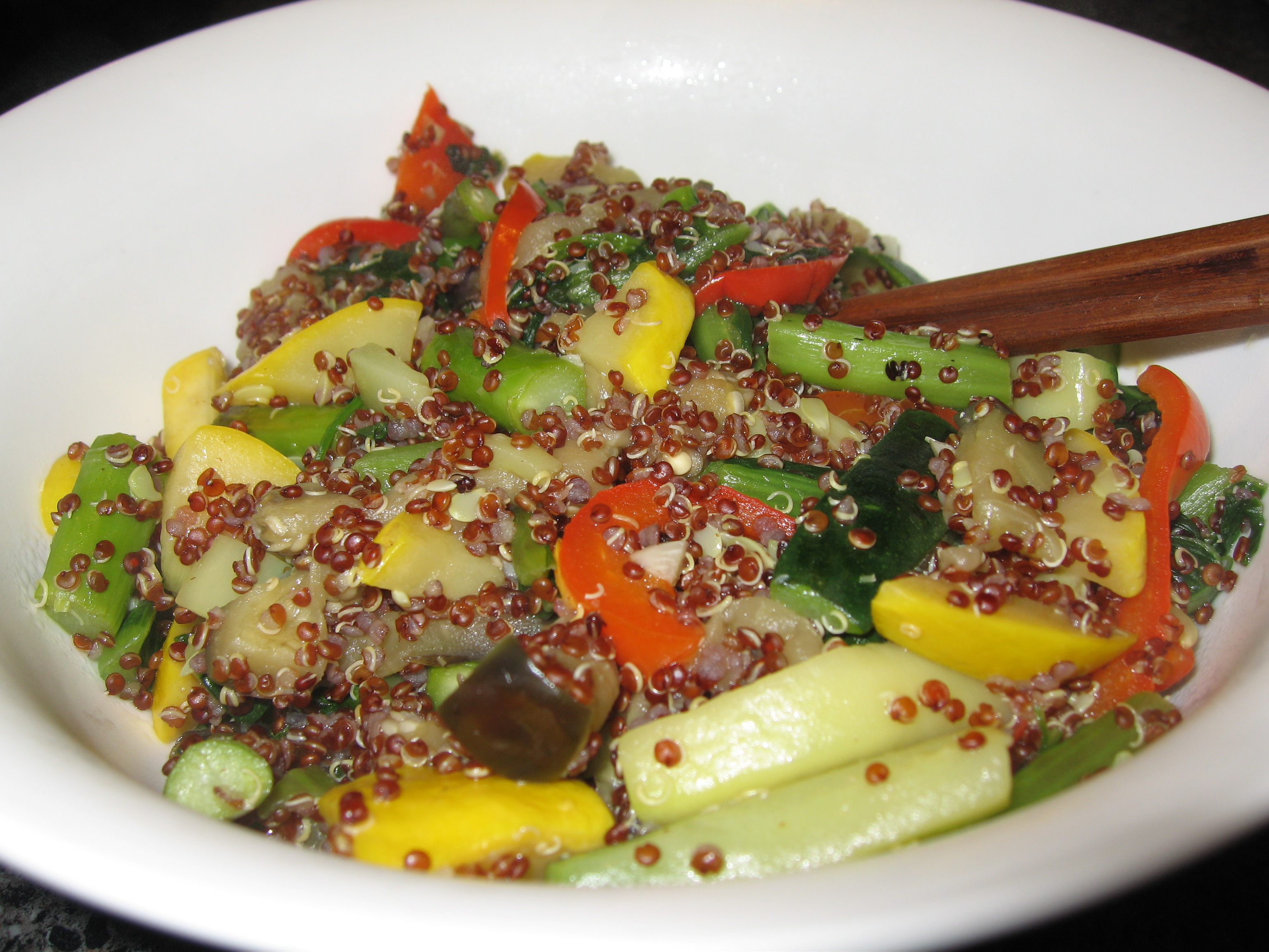 inca red quinoa stir-fry