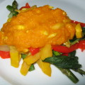veges with pumpkin and almond sauce