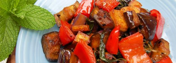Stir Fried Thai Basil with Tofu and Eggplant