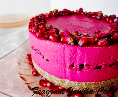 raw rose pomegranate dream cake