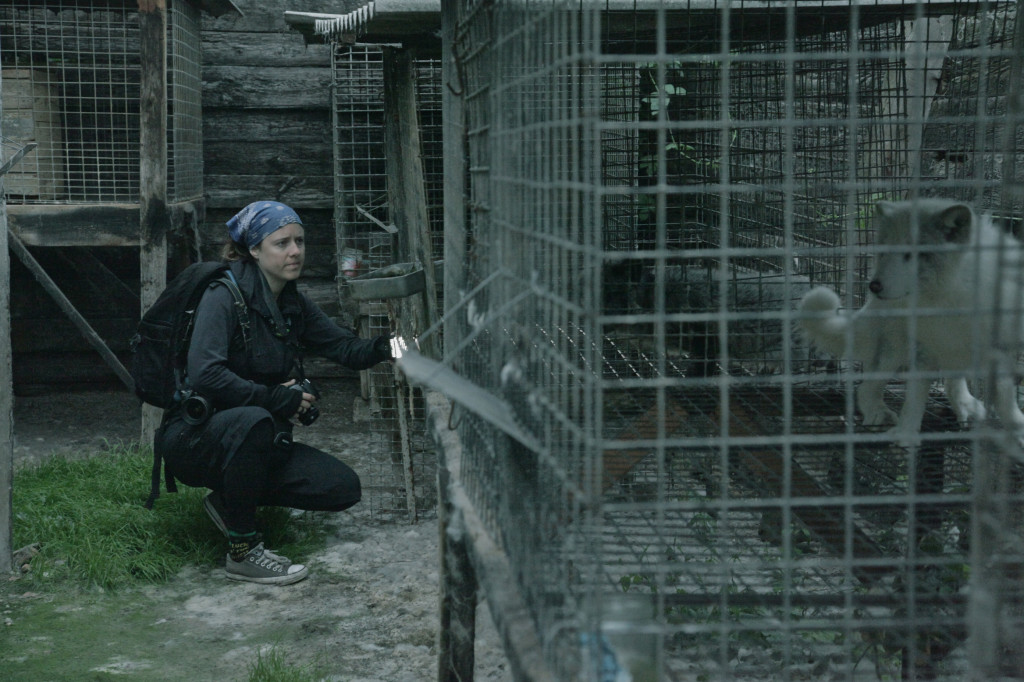 Jo-Anne McArthur on fur farm. Image: The Ghosts in our Machine Liz Marshall © 2012