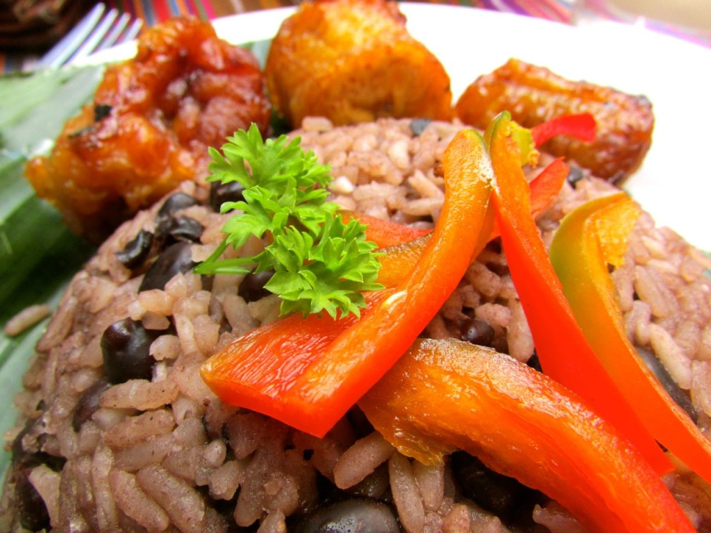 """""""Arroz con frijoles y platano frito"""", rice, black beans and fried sweet plantain, not only is it delicious, it's one of Guatemala's most traditional dishes which just happens to be completely vegan!"""