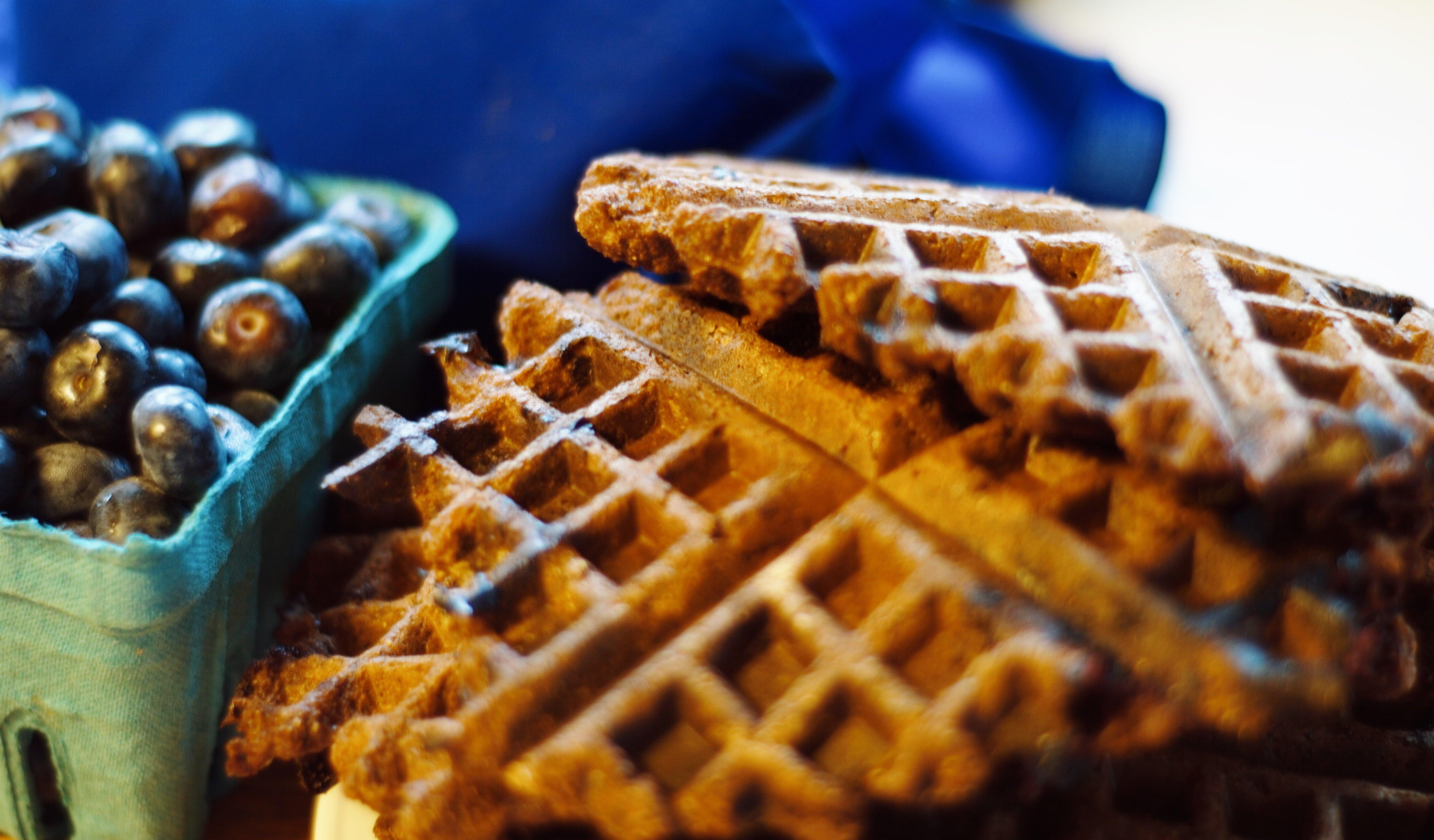 blueberry chocolate waffles vegan