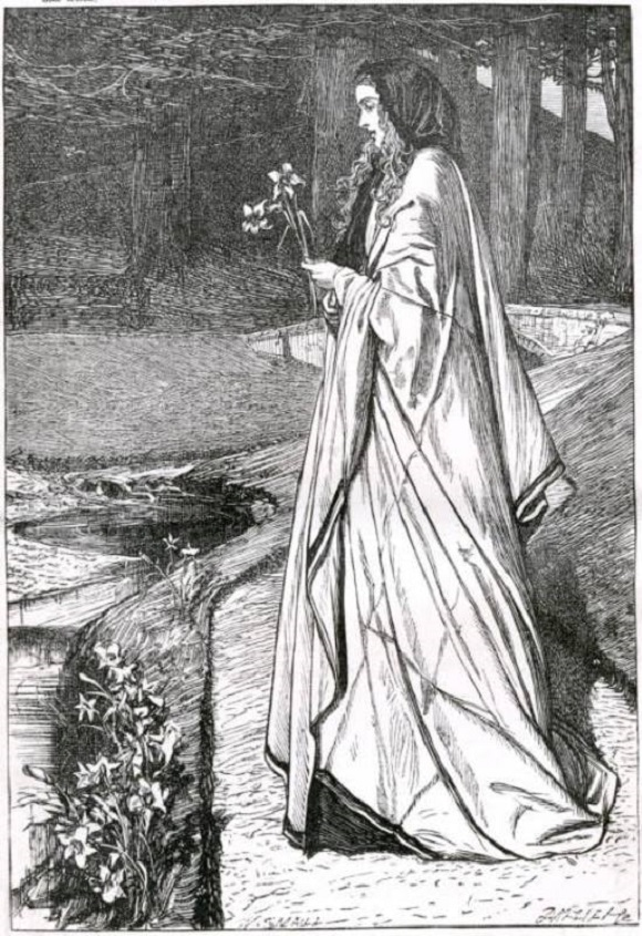 """Lilies Artist: William Small (1843-1929) Engraver: The Dalziels 1866 Frontispiece, 1866 Good Words Illustration of the following lines from """"Lilies"""" by H. R. Haweis quoted below. Wood engraving 6 1/2 x 4 1/2 inches Image scan and text by Simon Cooke. http://www.victorianweb.org/art/illustration/small/2.html"""