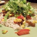 vegan fajitas with corn salsa