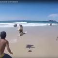 Dog Shows Off Soccer Skills At Beach
