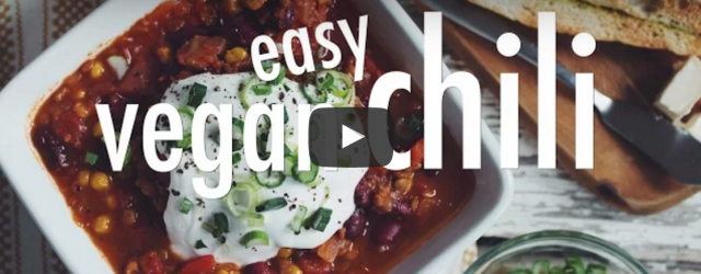 Dinner is a breeze with this quick and easy vegan chili recipe with lentils and kidney beans! Check out Hot For Food's video instructions: