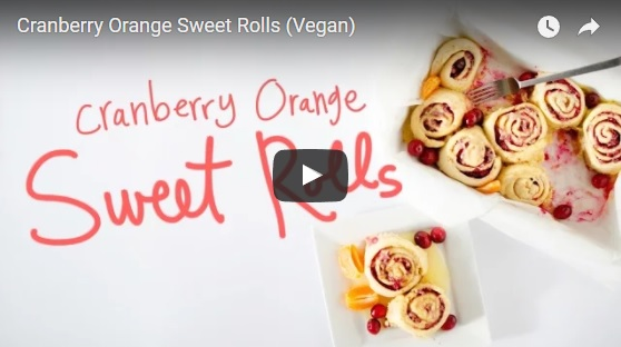 vegan cranberry orange sweet rolls