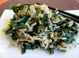 Stir Fry Rice w/ Spinach, Macadamia, Tempeh
