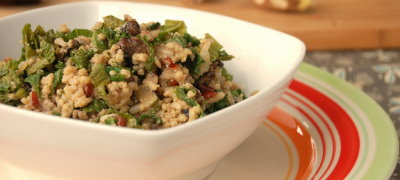 Fried Millet Rice with Mushroom and Mustard Greens