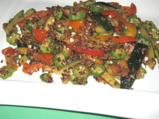 Stir-fry Okra with Flaxseed (Linseed)