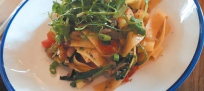 Pappardelle with Swiss Chard, Smoked Tomato, Roast