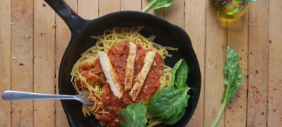 Spaghetti with Red Sauce and Chikn Tenders