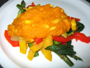 Vegetable with Pumpkin and Almond Sauce