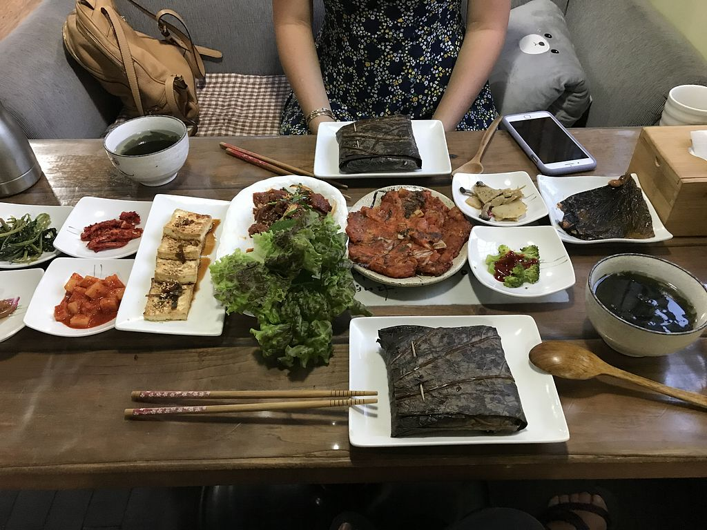 """Photo of Dajeon Cafe  by <a href=""""/members/profile/sara_dellinger"""" class=""""title__title"""" title=""""Profile of member sara_dellinger"""">sara_dellinger</a> <br/>Lotus meal: includes kimchi pajeon, wheat bulgogi, and lotus-cooked rice <br/> July 1, 2018  - <a href='/contact/abuse/image/51276/423521'>Report</a>"""