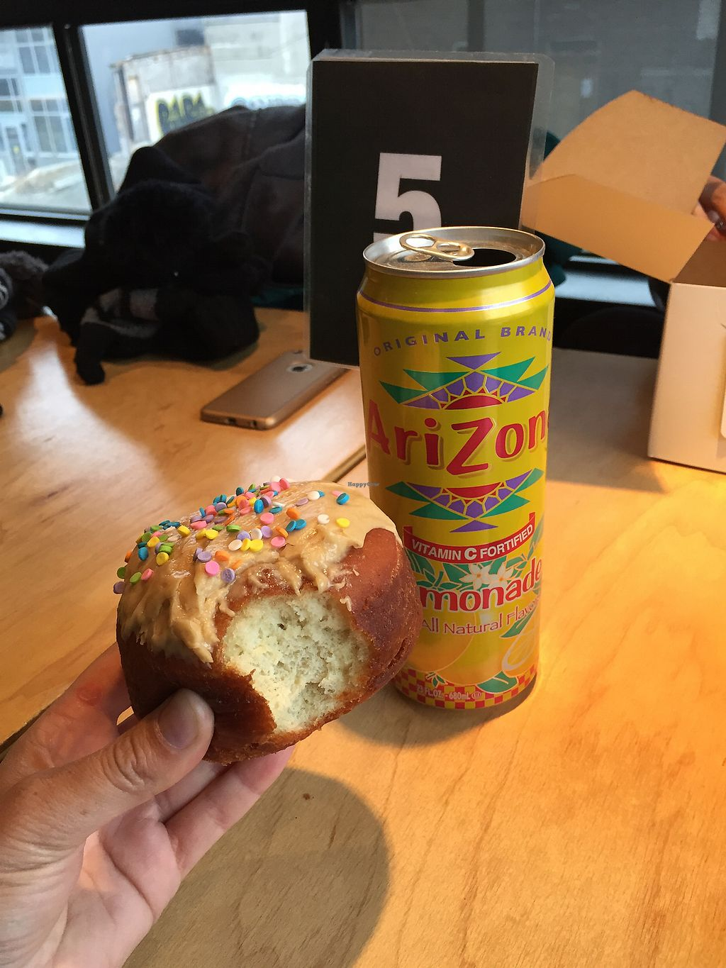 """Photo of Apiecalypse Now Pizza and Snack Bar  by <a href=""""/members/profile/laurdanielle"""" class=""""title__title"""" title=""""Profile of member laurdanielle"""">laurdanielle</a> <br/>Peanut butter donut and lemonade <br/> December 24, 2017  - <a href='/contact/abuse/image/58573/338703'>Report</a>"""